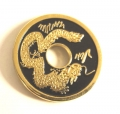 Chinese Coin, Black, Gold Dragon